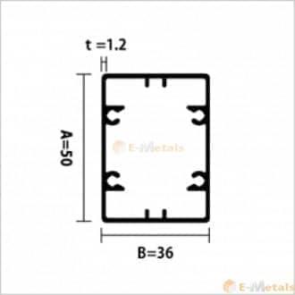 標準寸法 ビスホール材 アルミ建材/板材 A6063S-T5 角パイプビスホール材 1.2mm シルバー