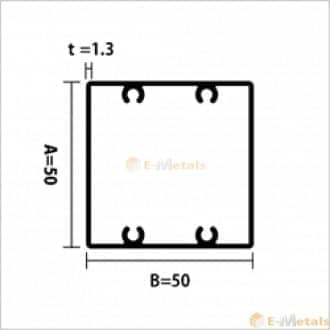 標準寸法 ビスホール材 アルミ建材/板材 A6063S-T5 角パイプビスホール材 1.3mm シルバー