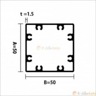 標準寸法 ビスホール材 アルミ建材/板材 A6063S-T5 角パイプビスホール材 1.5mm ブラック(ツヤ消)