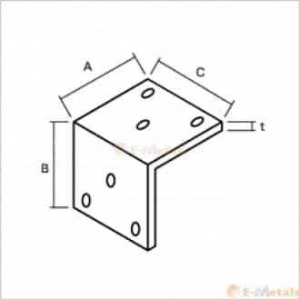 標準寸法 アングル アルミアングルピース 穴あり(6穴30mm) シルバー