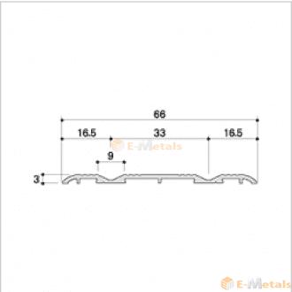 標準寸法 ウイングレール アルミ(メーカー品) フロアレール(ウイングレール) ウイングレール66W 木目オーク