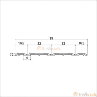 標準寸法 ウイングレール アルミ(メーカー品) フロアレール(ウイングレール) ウイングレール99T 木目ナチュラル
