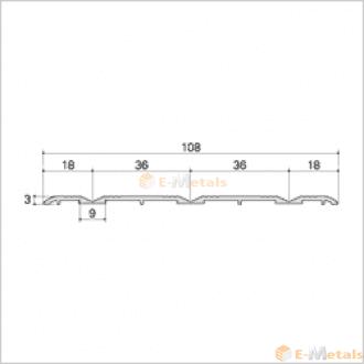 標準寸法 ウイングレール アルミ(メーカー品) フロアレール(ウイングレール) ウイングレール108T ブロンズ(艶消し)