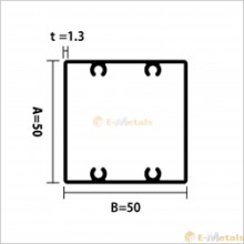 アルミ建材/板材 A6063S-T5  角パイプビスホール材